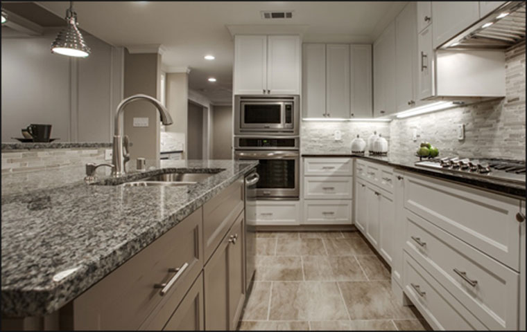 Kitchen Countertops. Granite With A Flat Polished Edge